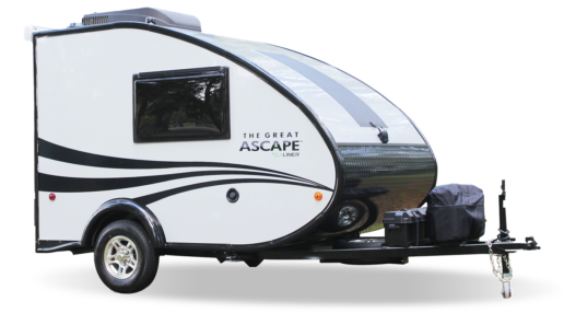 A photo of an Aliner Grand Ascape travel trailer against a white background