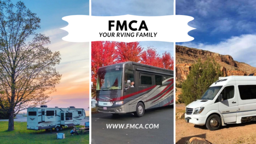 "An image that contains three separate photos of motorhomes. The left image shows a motorhome next to a tree during a cloudy pastel sunset. The middle photo showsa motorhome in front of some vibrant red trees in autumn. The right photo shows a motorhome in front of a desert mesa. The words ""FMCA Your RVing family www.fmca.com"" are superimposed on the image."