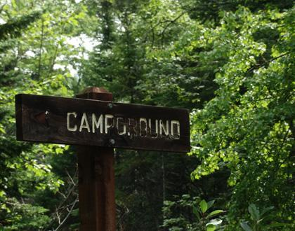 A picture of a campground sign in front of green, leafy trees