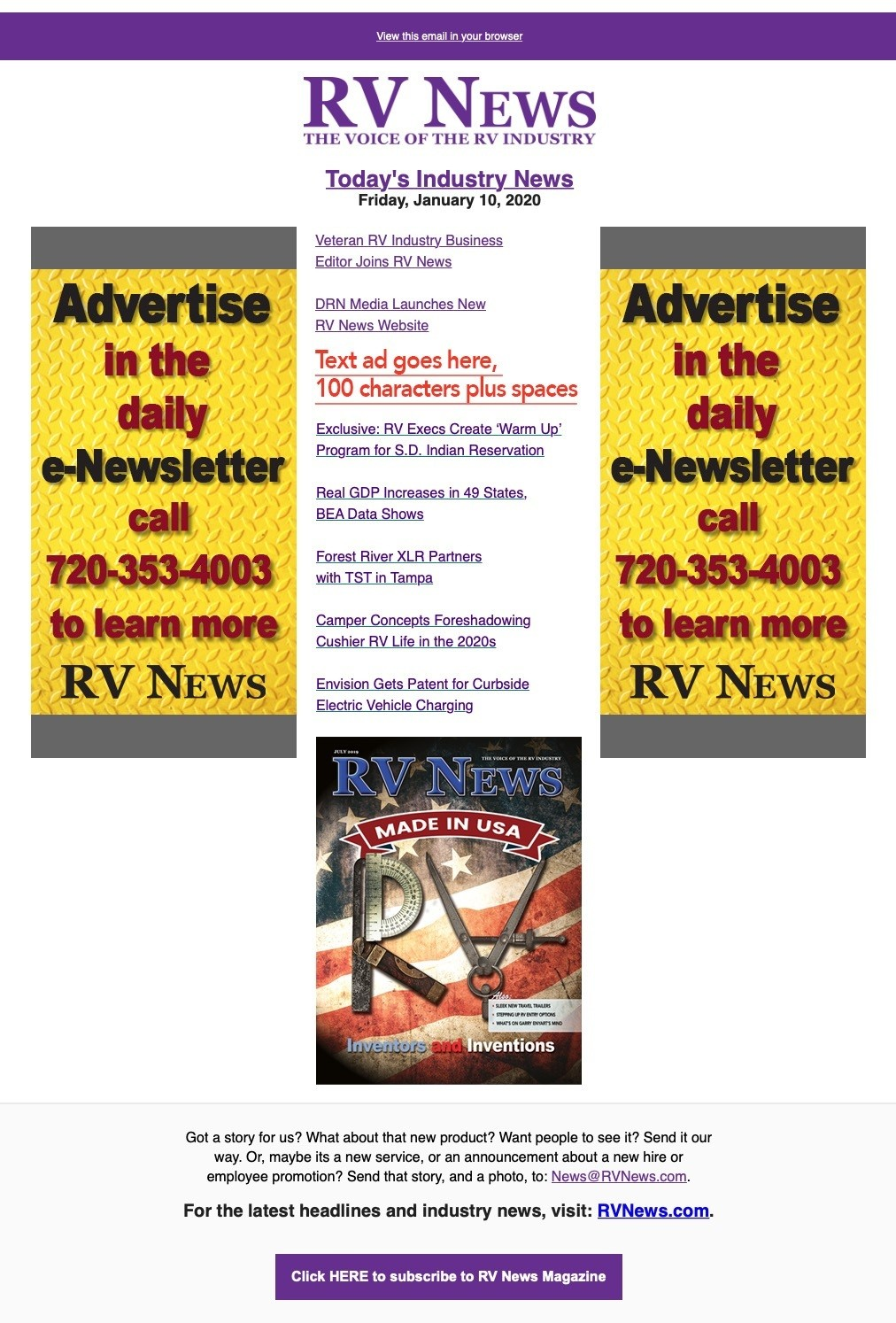 RV News enewsletter template with advertising spots