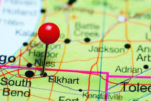 Photo of pin in Elkhart, Indiana on a state map