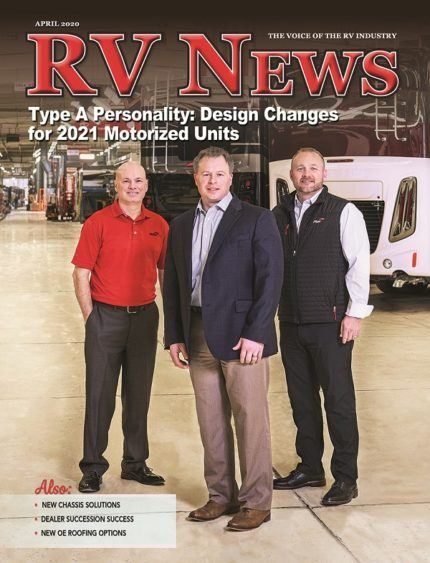 The front cover of the April 2020 issue of RV News magazine