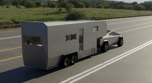 Tesla Cybertruck pulling futuristic fifth wheel