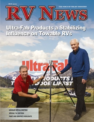"The front cover of the May 2020 issue of RV News. The cover shows two men standing beside a tripod with a meadow/mountainous backdrop behind them. The words ""RV News. Ultra-Fab Products a Stabilizing Influence on towable RVs"" are super-imposed on the cover."