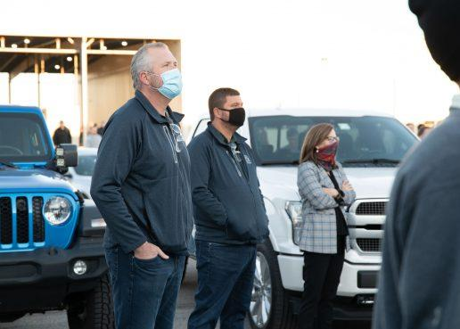 A photo of Thor President and CEO Bob Martin, Thor group manager Matt Zimmerman and Keystone team members as they arrived for work