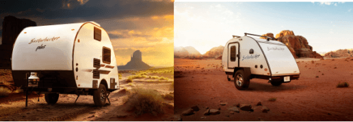 A side-by-side image of Braxton Creek's new teardrop trailer taken from two different angles and at different times of day. Both images of the trailer were taken n the desert. The left side shows sunset with a darkening sky and gives the trailer a whimsical glow, while the image on the right shows the trailer in broad daylight under a blue, lightly-clouded sky.
